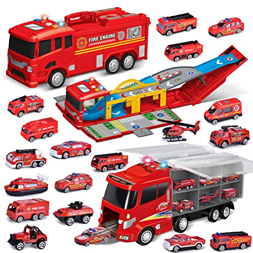 FUN LITTLE TOYS Two Big  Electric Fire Storage Carrier Truck with 18PC Fire Trucks