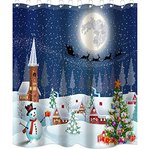Sunshane 71 x 71 Inch Christmas Shower Curtain Liner Bathroom Curtain Liner, Snowman Farm Town in Winter Shower Curtains with 12 Hooks for Christmas Decorations