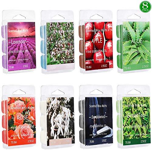 Vanrener Scented Wax Melts -Set of 8 (2.5 oz) Assorted Wax Warmer Cubes/Tarts - Apple, Sandalwood, Aloe, Green Tea, Rose, Vanilla, Jasmine, Lavender