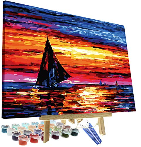 DIY Oil Painting Paint by Numbers Kit for Adults Kids Beginner - Sailboat Sunset 12'x16' with Wooden Frame and Easel