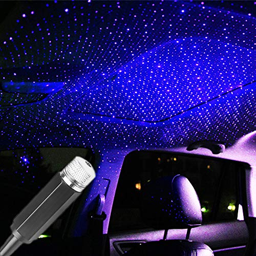 USB Star Projector Night Light, Romantic Car Galaxy Projector Light, Car Interior Lights, Car Roof Decoration Light, Gift for Cars, Bedrooms and Parties, Blue