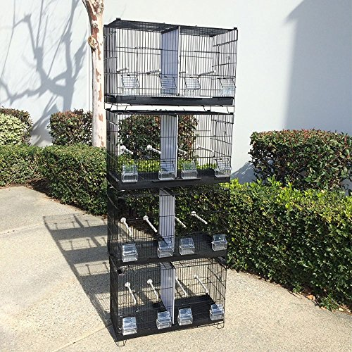 Flyline Lot of 4 Stackable Breeding Bird Cage for Canary Finch Small Birds (Black)