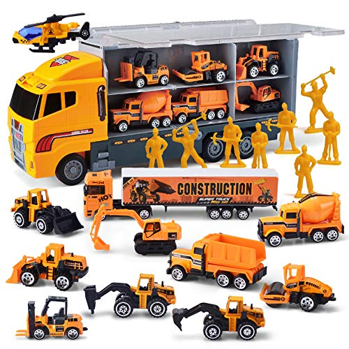 JOYIN 11 in 1 Die-cast Construction Truck Vehicle Car Toy Set Play Vehicles in Carrier Birthday Gifts for Over 3 Years Old Boys
