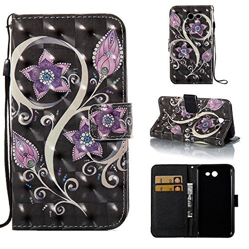 for Samsung Galaxy J7 V Case Wallet / J7 2017 / J7 Prime/ J7 Sky Pro/ J7 Perx/Galaxy Halo,Voanice PU Leather Flip Protective Phone Case Women Men Cover with Card Slots Stand (Purple Flower)