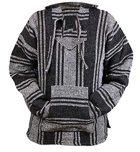 Del Mex Mexican Baja Hoodie Hippie Surf Poncho Sweater Sweatshirt Pullover Jerga (Large, Dark Gray)