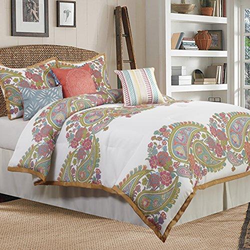Nanshing SAUNDERS7-Q Saunders Collection Bedroom Comforter Complete 7 Piece Set, Queen, White/Gold
