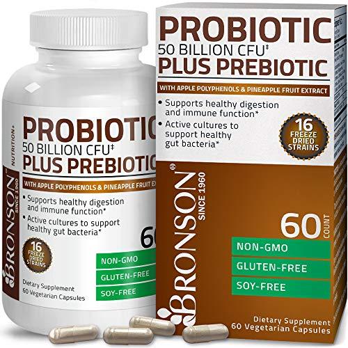 Bronson Probiotic 50 Billion CFU + Prebiotic with Apple Polyphenols & Pineapple Fruit Extract for Women & Men Non-GMO, 60 Vegetarian Capsules
