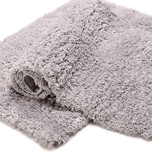Bonzy Home Bathroom Rug Non Slip Bath Mat 32 x 20inch Water Absorbent Soft Microfiber Shaggy Bathroom Mat Machine Washable Bath Rug Thick Plush Rugs for Shower 1pc (Gray)