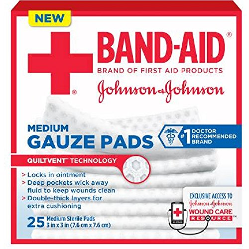 Band-Aid Johnson & Johnson Medium Gauze Pads, 25 Medium Sterile Pads 3 In X 3 In ( Pack of 4)