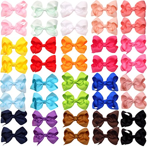 40Pieces Boutique Grosgrain Ribbon Pinwheel 3' Hair Bows Alligator Clips For Babies Toddlers Teens Gifts In Pairs