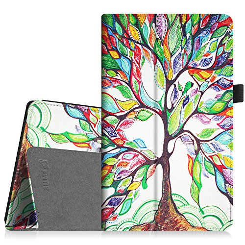 Fintie Folio Case for Amazon Fire HD 8 Tablet (7th/8th Generation, 2017/2018 Release) - Slim Fit Premium Vegan Leather Standing Protective Cover, Love Tree