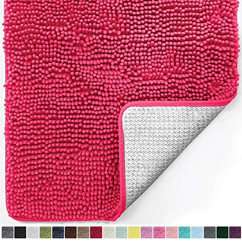 Gorilla Grip Original Luxury Chenille Bathroom Rug Mat, 44x26, Extra Soft and Absorbent Large Shaggy Rugs, Machine Wash Dry, Perfect Plush Carpet Mats for Tub, Shower, and Bath Room, Hot Pink