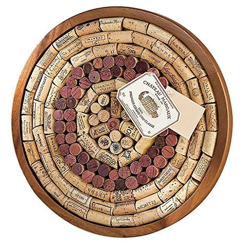 Wine Enthusiast Round Wine Cork Board Kit, Light Brown