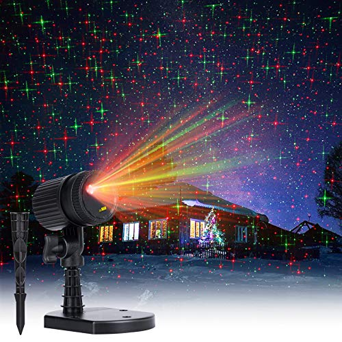 Christmas LED Projector Lights Outdoor: Red & Green Starry Projection Light 3 Working Modes Waterproof Plug in Mountable for Holiday House Indoor Outdoor Party New Year Decoration