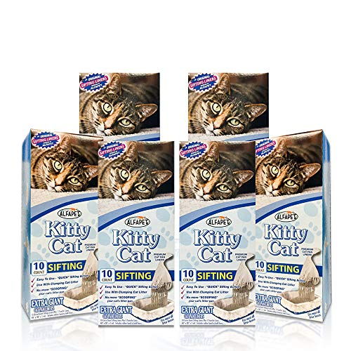 Alfapet Kitty Cat Pan Disposable, Sifting Liners- 10-Pack + 1 Transfer Liner-for Large, X-Large, Giant, Extra-Giant Size Litter Boxes-Included Rubber Band for Firm, Easy Fit - Pack of 6