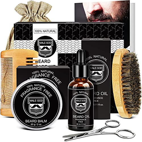 Beard Kit Mens Gifts, Beard Grooming Kit with Beard Oil, Beard Balm, Beard Comb, Beard Brush, Beard Scissors, Men Stocking Stuffers for Fathers Day
