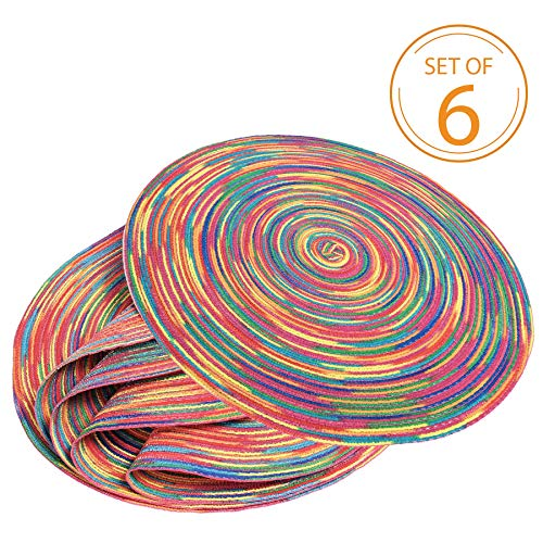 Braided Colorful Round Place mats for Kitchen Dining Table Runner Heat Insulation Non-Slip Washable Summer Placemats Set of 6
