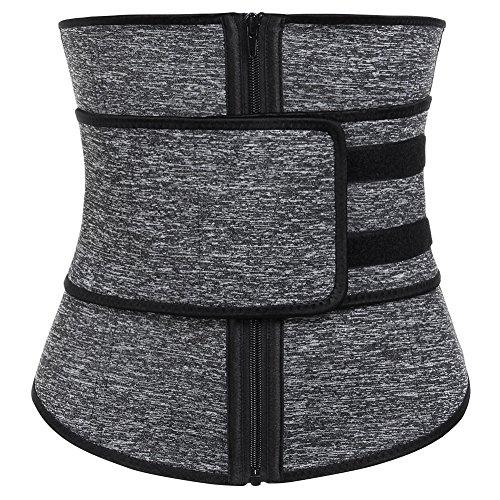 FeelinGirl Women's Neoprene Workout Top Shirt Waist Trainer Corset Trimmer Belt Body Shaper Cincher Zipper Slimming L Grey