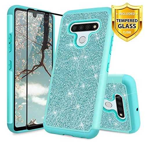 TJS Phone Case Compatible for LG Stylo 6, with [Full Coverage Tempered Glass Screen Protector] Glitter Bling Cute Girls Women Design Dual Layer Heavy Duty Hybrid Cover (Teal)