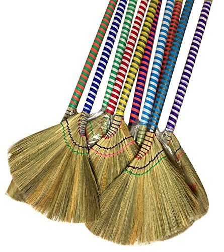 掃把 Anti-Static Choi Bong Co Vietnam Hand Made Straw Soft Broom Colored Handle 12' Head Width, 40' Overall Length 3-PC