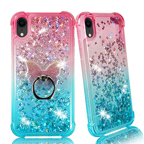iPhone XR 6.1inch Case, ZASE Compatible for Apple iPhone XR Liquid Glitter Sparkly Bling Protection Clear Case Waterfall Cute Floating Butterfly TPU Shockproof Bumper w/Phone Ring (Gradient Pink Aqua)