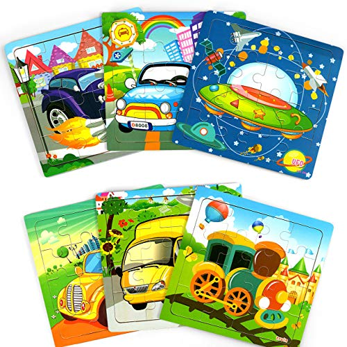 Wooden Jigsaw Puzzles for Kids Ages 3-5, Toddler Preschool Puzzles 16 Pieces for Boys and Girls 2 3 4 5 Years Old with Organza Bags (6 Puzzles)