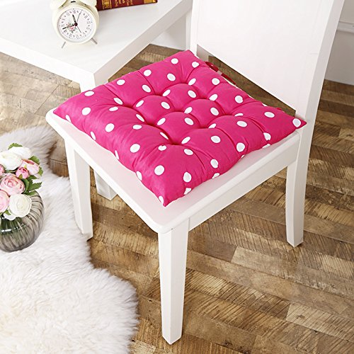 Voberry Soft Home Office Square Cotton Polka Dot Seat Cushion Buttocks Chair Cushion Pads (Hot Pink)