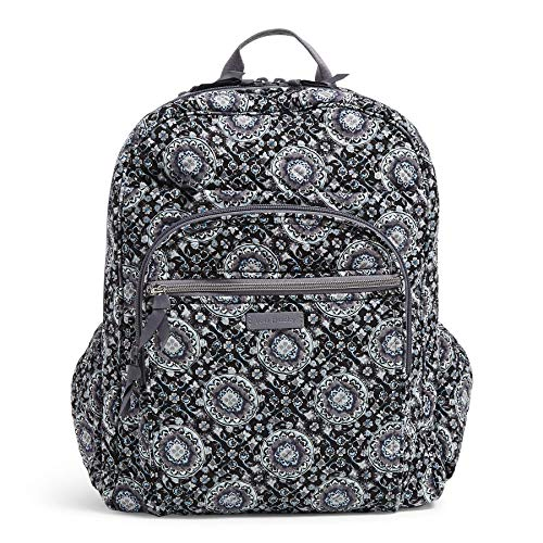 Vera Bradley Women's Signature Cotton XL Campus Backpack, Charcoal Medallion, One Size