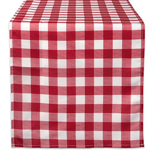 DII CAMZ38593 RED CHECK OUTDOOR TABLERUNNER 14x72,
