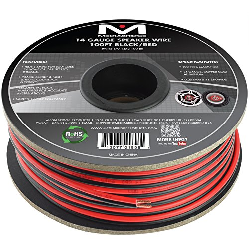 Mediabridge 14AWG 2-Conductor Speaker Wire (100 Feet, Black/Red) - True 14AWG for in-Home Or Car Stereo - Low-Loss Copper Clad Aluminum (Part# SW-14X2-100-BR)