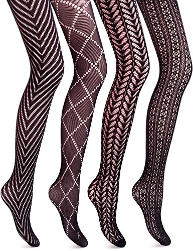 VERO MONTE 4Styles Womens Tights Fishnet Tights Pantyhose Black Tights for Women
