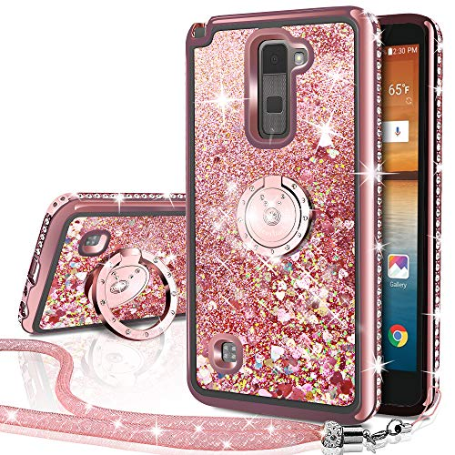 LG Stylo 2 V/Stylo 2/ Stylo 2 Plus/Stylus 2 Case, Silverback Moving Liquid Holographic Sparkle Glitter Case with Kickstand, Bling Diamond Rhinestone Bumper with Ring Slim Protective LG LS 775 -RD