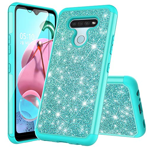 for LG Q51 Case LG K51 Case HD Temper Glass Screen Protector Cute Bling Glitter for Girls Women Reinforced Corners TPU Shock-Absorption Cell Phone Cover for LG K51 (Teal)