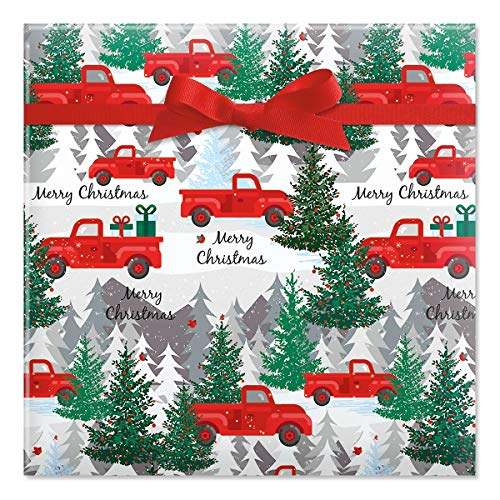 CURRENT Red Truck Christmas Jumbo Rolled Gift Wrap - 1 Giant Roll, 23 Inches Wide by 35 feet Long, Heavyweight, Tear-Resistant, Holiday Wrapping Paper