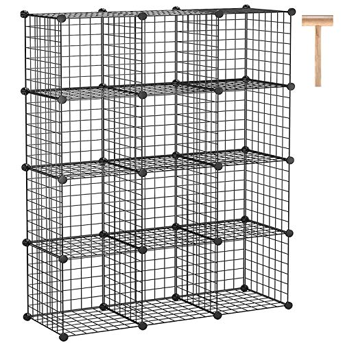 "C&AHOME Wire Cube Storage, 12-Cube Storage Organizer, Metal Stackable Storage Bins, Modular Bookshelf, DIY Closet Cabinet Ideal for Living Room, Bedroom, Office 36.6""L x 12.4""W x 48.4""H Black"