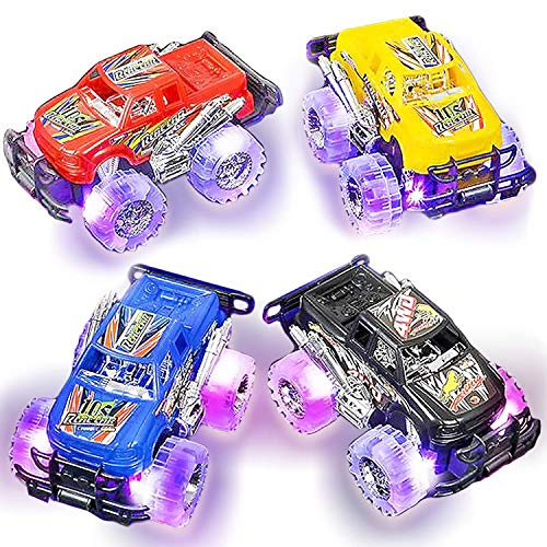 Light Up Monster Truck Set for Boys and Girls by ArtCreativity - Set Includes 2, 6 Inch Monster Trucks with Beautiful Flashing LED Tires - Push n Go Toy Cars Fun Gift for Kids - for Ages 3+