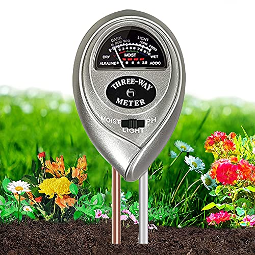 Soil PH Meter,3-in-1 Soil Moisture/Light/pH Meter Gardening Tool Kits for Garden, Farm, Lawn Care, Indoor and Outdoor Potted House Plants, Soil Test Kit, Plant Water Meter,No Battery Required(Sliver)
