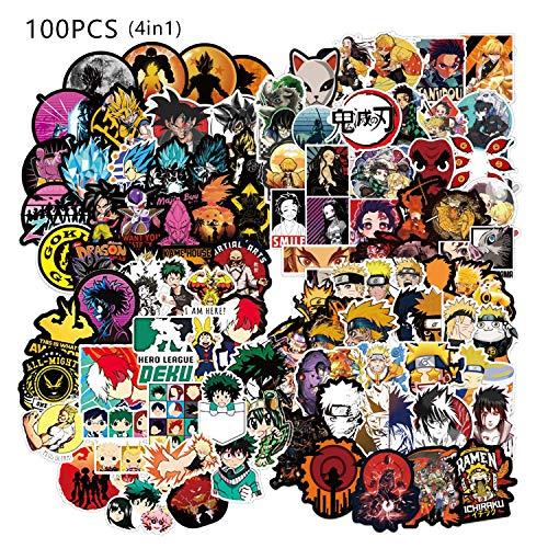 Fighting Anime Stickers [100PCS]. Random Anime Sticker for Laptop Water Bottle Bike Car Bumper Skateboard Graffiti Stickers, Cool Animals Monsters Decals, Best Gift for Kids Children