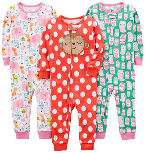Simple Joys by Carter's Baby Girls' 3-Pack Snug Fit Footless Cotton Pajamas, Owl/Monkey/Animals, 12 Months
