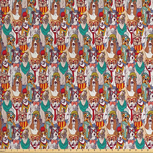 Ambesonne Dog Fabric by The Yard, Hipster Bulldog Schnauzer Pug Breeds with Glasses Hats Scarf Pattern Colorful Cartoon, Decorative Fabric for Upholstery and Home Accents, 1 Yard, Teal Brown