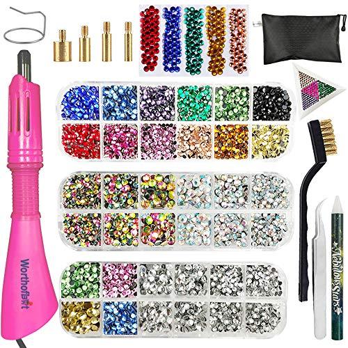 Hotfix Applicator, Hot Fix Rhinestone Setter Wand Tool, Hot-fix Bedazzle Kit, 4560 Pcs, AB Crystal, Rainbow, Clear, Colors, Tips, Manual, Tweezers, Tray, Gem Picker, Brush, Stand, Bag, 3 Jewel Sizes