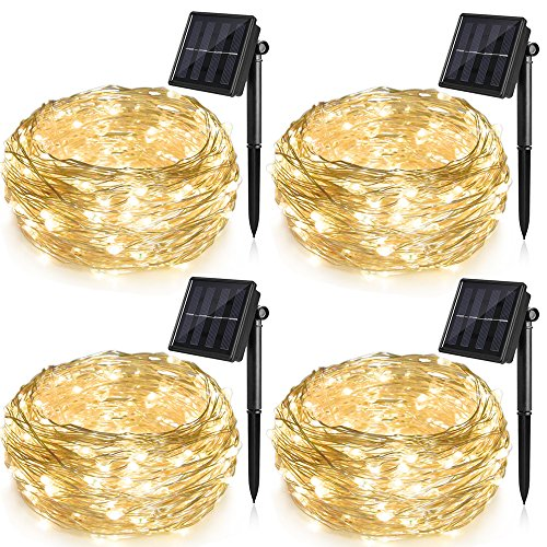 Ankway Solar String Lights Upgraded 100LED 4 Pack Solar Fairy Lights IP65 Waterproof 72ft Copper Wire Lights for Outdoor Home Bedroom Window Decor, Warm White