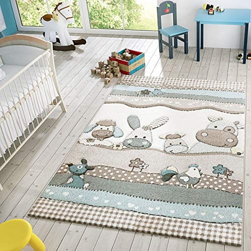 Kids Rug with Cute Farm Animals in Pastel Colors Modern Area Rug for Childrens Room, Size:5'3' x 7'7', Colour:Beige