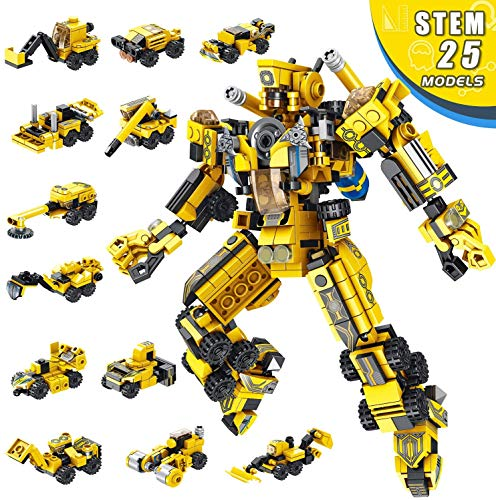 LUKAT Robot STEM Building Toy for Kids, 573 PCS Toys for 6 Year Old Boys, 25-in-1 Construction Engineering Building Blocks Building Learning Kids Toy Set Boys Toys Gift Age 5 6 7 8 9 10 11 12 Yr Old
