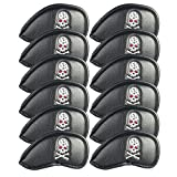 Volf Golf 12pcs/10pcs Black/Blue/Red Thick Synthetic Leather Golf Iron Head Covers Set Headcover Fit Most Golf Brands Irons Heads (Black Pirate)
