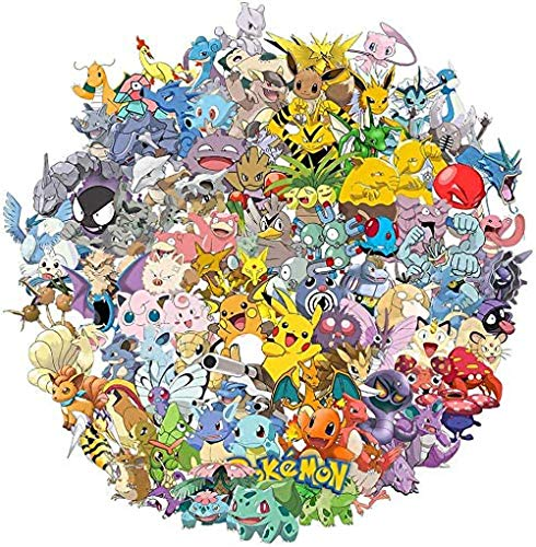 Pokemon Stickers, [Big 100 pcs] [Waterproof] [Extra Durable] Trendy Aesthetic Stickers for Laptop, Luggage, Skateboard, Water Bottles, Bicycle, Guitar, Phone, Perfect for Kids, Teens