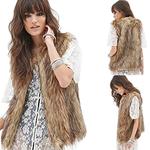 Dikoaina Womens Ladies Fashion Autumn and Winter Warm Short Faux Fur Vests Outwear Jacket