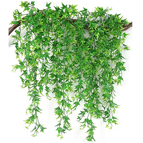 Artificial Vine, PASYOU Hanging Ivy Sweet Potato Leaves Plastic Plants Foliage Vines, UV Resistant Greenery Fake Flowers for Indoor Outdoor Garden Door Wall Wedding Party Table Decoration Green 4 Pack