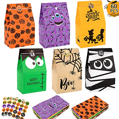 Whaline 60pcs Halloween Paper Bags Trick or Treat Bags, Treat Bags, Party Favor Candy Bags with 60pcs Halloween Stickers for Party Favor, Trick or Treating, Classrooms
