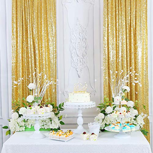 CIPAZEE Gold Sequin Backdrop Curtains - 2.1x8FT 2 Panels Glitter for Party Wedding Baby Shower Brithday Gold Photo Backdrop Sequin Curtain for Parties Background